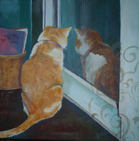 SOLD Flat Cat for Cat Care Society Acrylic 10 x 10""