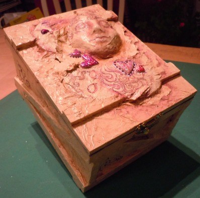 Mixed Media Box with Sculpted Heads