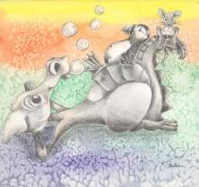 "Puff 'N' Friends 8 x 10"" Watercolor/Graphite"