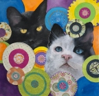 SOLD The Girls Mixed Media for Cat Care Society 12 x 12""